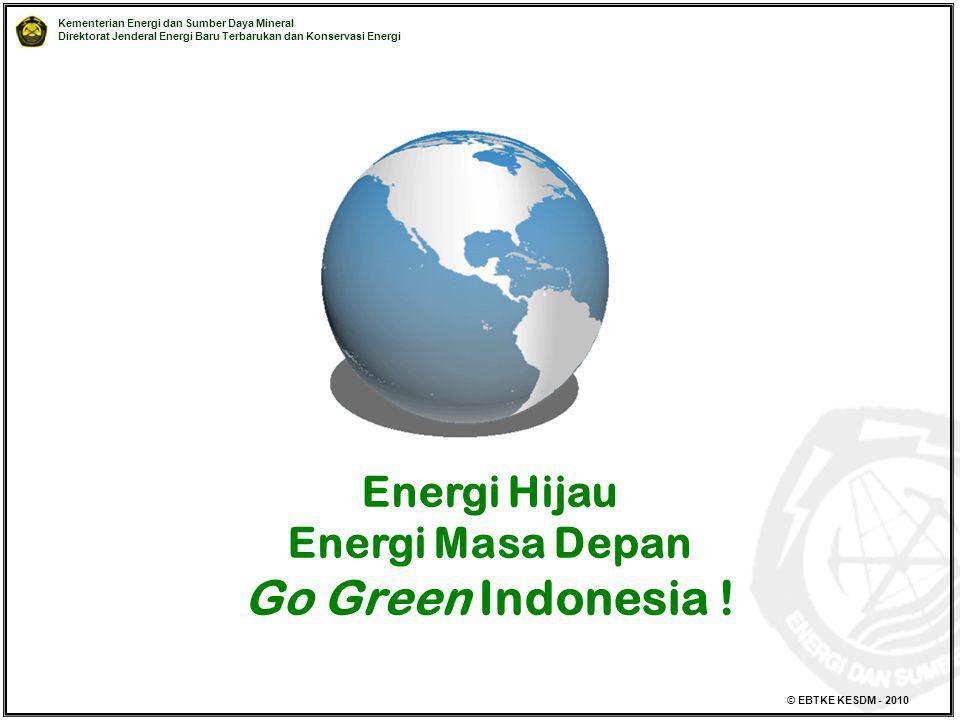 Kementerian Energi dan Sumber Daya Mineral Direktorat Jenderal Energi Baru Terbarukan dan Konservasi Energi © EBTKE KESDM - 2010 Energi Hijau Energi M