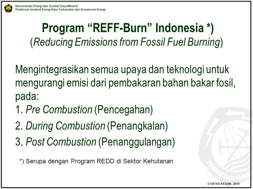 """Kementerian Energi dan Sumber Daya Mineral Direktorat Jenderal Energi Baru Terbarukan dan Konservasi Energi © EBTKE KESDM - 2010 Program """"REFF-Burn"""" I"""
