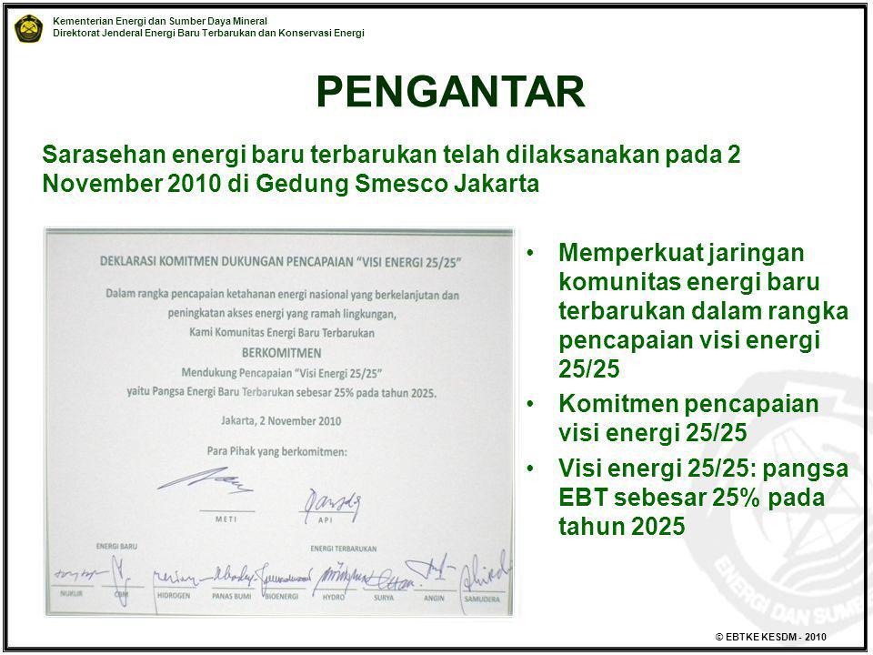 Kementerian Energi dan Sumber Daya Mineral Direktorat Jenderal Energi Baru Terbarukan dan Konservasi Energi © EBTKE KESDM - 2010 Memperkuat jaringan k
