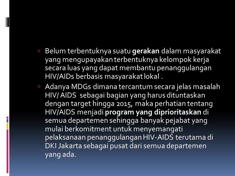  Belum terbentuknya suatu gerakan dalam masyarakat yang mengupayakan terbentuknya kelompok kerja secara luas yang dapat membantu penanggulangan HIV/AIDs berbasis masyarakat lokal.