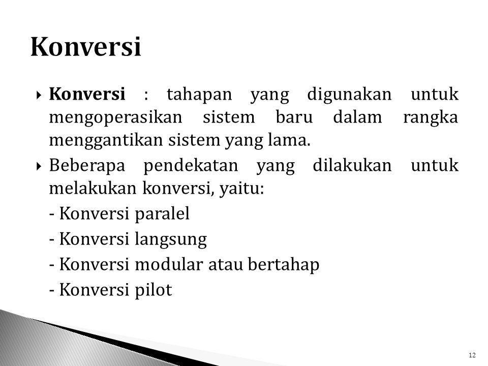  Konversi : tahapan yang digunakan untuk mengoperasikan sistem baru dalam rangka menggantikan sistem yang lama.
