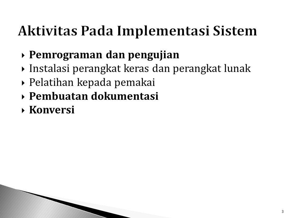  Pemrograman dan pengujian  Instalasi perangkat keras dan perangkat lunak  Pelatihan kepada pemakai  Pembuatan dokumentasi  Konversi 3