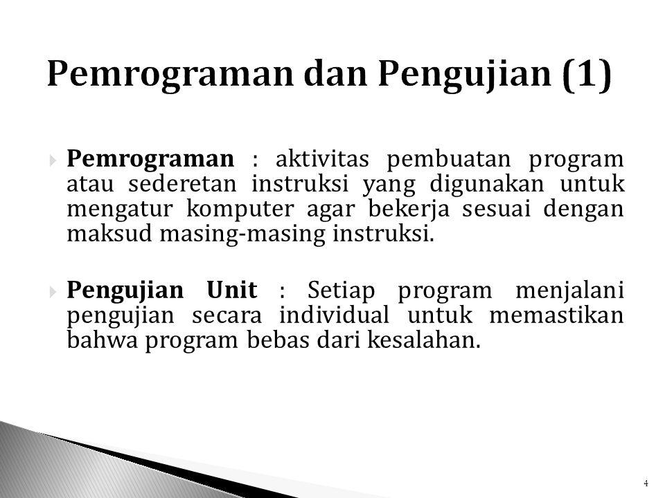  Pemrograman : aktivitas pembuatan program atau sederetan instruksi yang digunakan untuk mengatur komputer agar bekerja sesuai dengan maksud masing-masing instruksi.