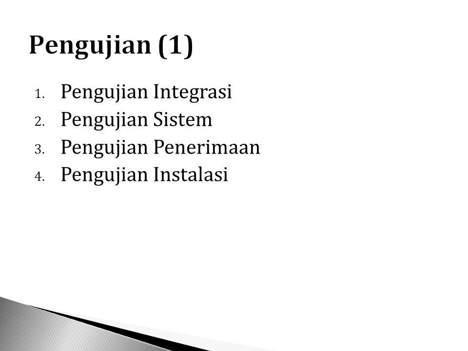 1. Pengujian Integrasi 2. Pengujian Sistem 3. Pengujian Penerimaan 4. Pengujian Instalasi