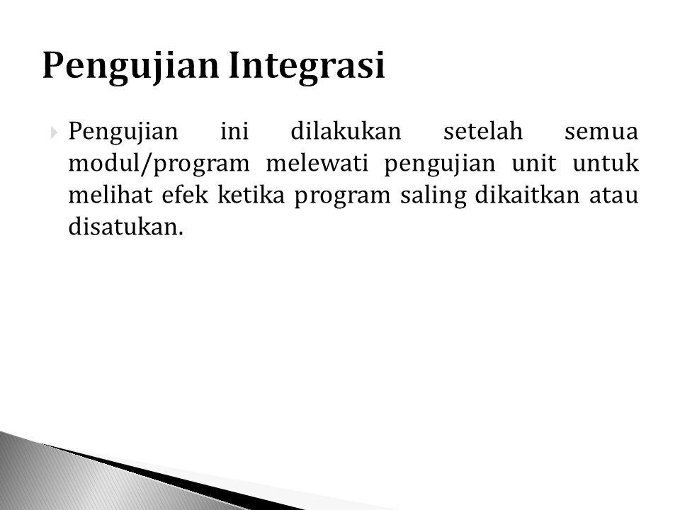  Pengujian ini dilakukan setelah semua modul/program melewati pengujian unit untuk melihat efek ketika program saling dikaitkan atau disatukan.