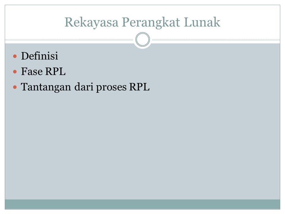 Rekayasa Perangkat Lunak Definisi Fase RPL Tantangan dari proses RPL