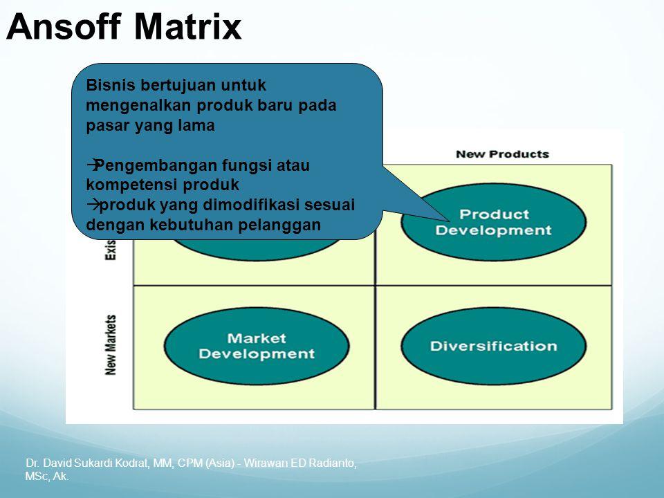 Dr. David Sukardi Kodrat, MM, CPM (Asia) - Wirawan ED Radianto, MSc, Ak. Ansoff Matrix Bisnis bertujuan untuk mengenalkan produk baru pada pasar yang