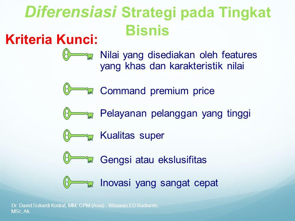 Dr. David Sukardi Kodrat, MM, CPM (Asia) - Wirawan ED Radianto, MSc, Ak. Kriteria Kunci: Diferensiasi Strategi pada Tingkat Bisnis Nilai yang disediak