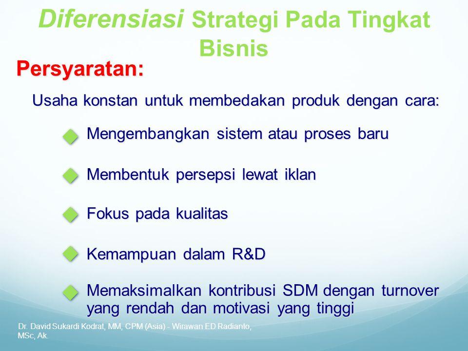Dr. David Sukardi Kodrat, MM, CPM (Asia) - Wirawan ED Radianto, MSc, Ak. Diferensiasi Strategi Pada Tingkat BisnisPersyaratan: Usaha konstan untuk mem