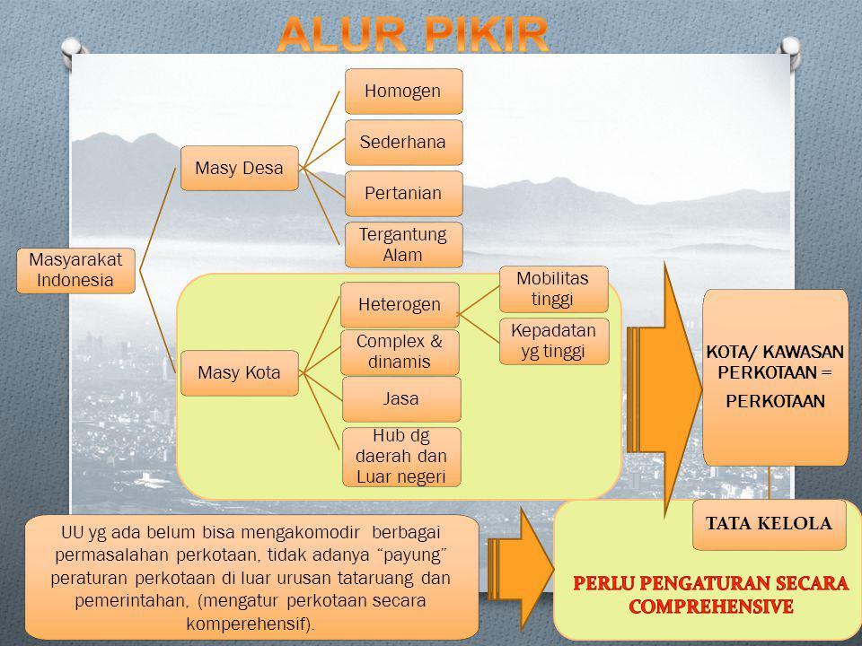 Masyarakat Indonesia Masy Desa Homogen Sederhana Pertanian Tergantung Alam Masy Kota Heterogen Complex & dinamis Jasa Hub dg daerah dan Luar negeri Mobilitas tinggi Kepadatan yg tinggi KOTA/ KAWASAN PERKOTAAN = PERKOTAAN TATA KELOLA UU yg ada belum bisa mengakomodir berbagai permasalahan perkotaan, tidak adanya payung peraturan perkotaan di luar urusan tataruang dan pemerintahan, (mengatur perkotaan secara komperehensif).
