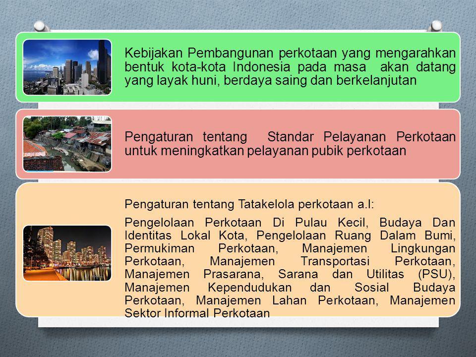 Kebijakan Pembangunan perkotaan yang mengarahkan bentuk kota-kota Indonesia pada masa akan datang yang layak huni, berdaya saing dan berkelanjutan Pengaturan tentang Standar Pelayanan Perkotaan untuk meningkatkan pelayanan pubik perkotaan Pengaturan tentang Tatakelola perkotaan a.l: Pengelolaan Perkotaan Di Pulau Kecil, Budaya Dan Identitas Lokal Kota, Pengelolaan Ruang Dalam Bumi, Permukiman Perkotaan, Manajemen Lingkungan Perkotaan, Manajemen Transportasi Perkotaan, Manajemen Prasarana, Sarana dan Utilitas (PSU), Manajemen Kependudukan dan Sosial Budaya Perkotaan, Manajemen Lahan Perkotaan, Manajemen Sektor Informal Perkotaan