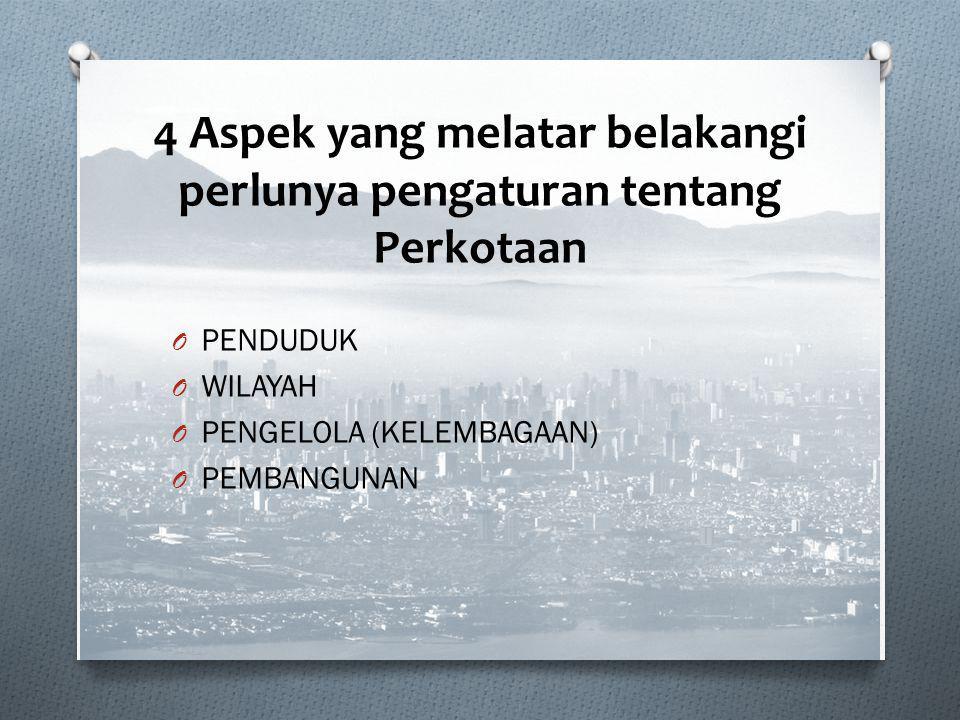 4 Aspek yang melatar belakangi perlunya pengaturan tentang Perkotaan O PENDUDUK O WILAYAH O PENGELOLA (KELEMBAGAAN) O PEMBANGUNAN