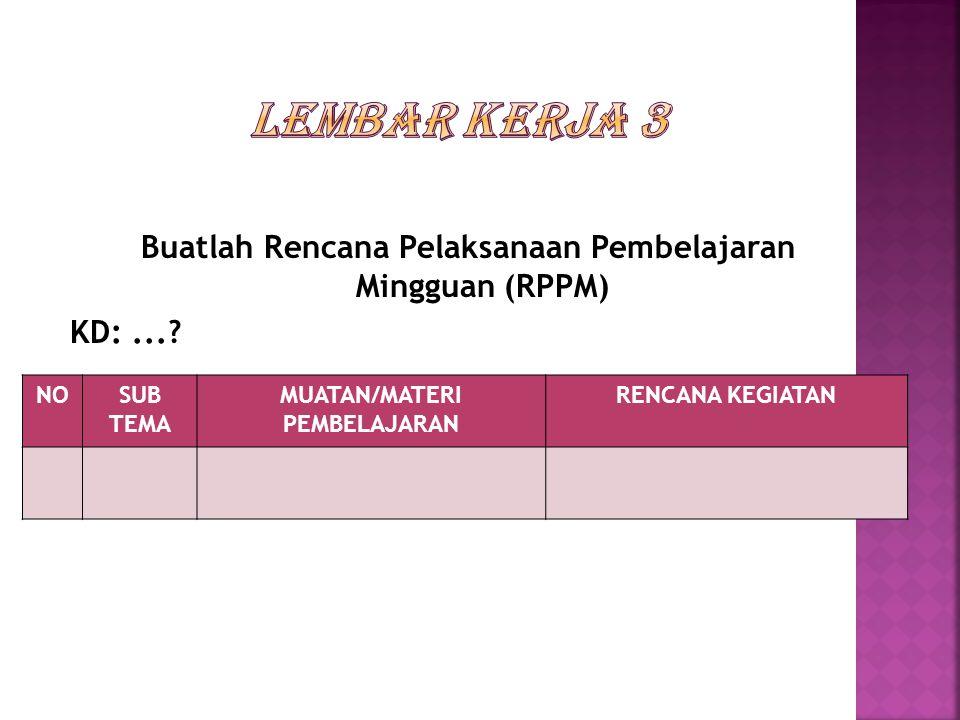 Buatlah Rencana Pelaksanaan Pembelajaran Mingguan (RPPM) KD:....