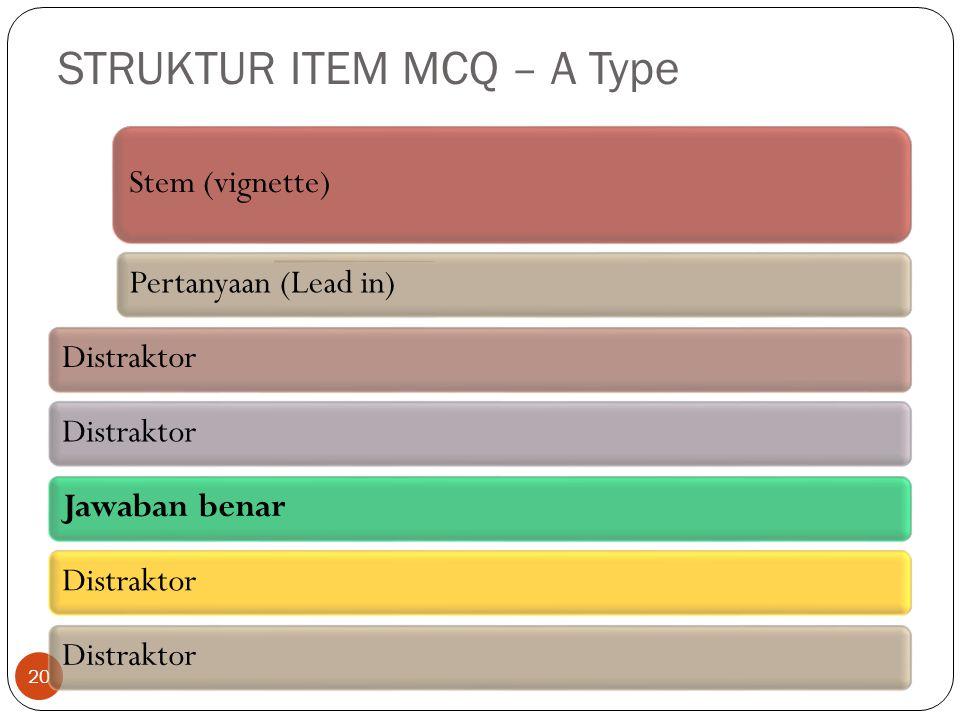 STRUKTUR ITEM MCQ – A Type 20 Stem (vignette) Pertanyaan (Lead in)Distraktor Jawaban benarDistraktor