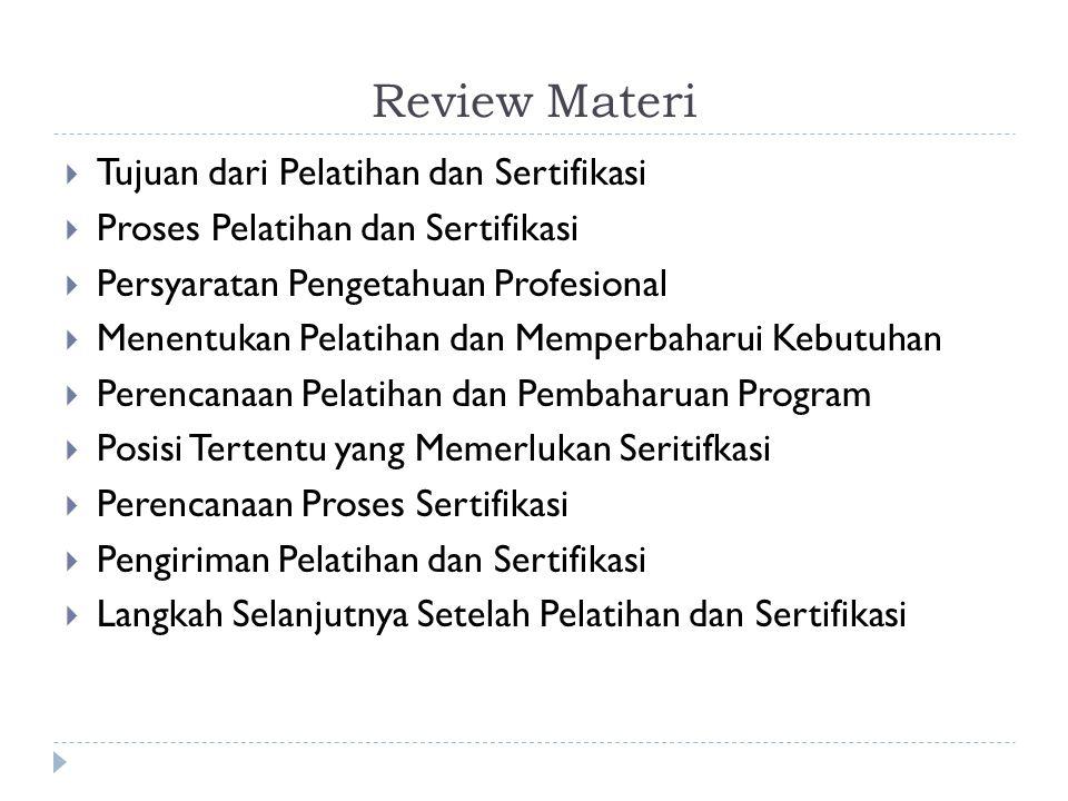 Review Materi  Tujuan dari Pelatihan dan Sertifikasi  Proses Pelatihan dan Sertifikasi  Persyaratan Pengetahuan Profesional  Menentukan Pelatihan dan Memperbaharui Kebutuhan  Perencanaan Pelatihan dan Pembaharuan Program  Posisi Tertentu yang Memerlukan Seritifkasi  Perencanaan Proses Sertifikasi  Pengiriman Pelatihan dan Sertifikasi  Langkah Selanjutnya Setelah Pelatihan dan Sertifikasi