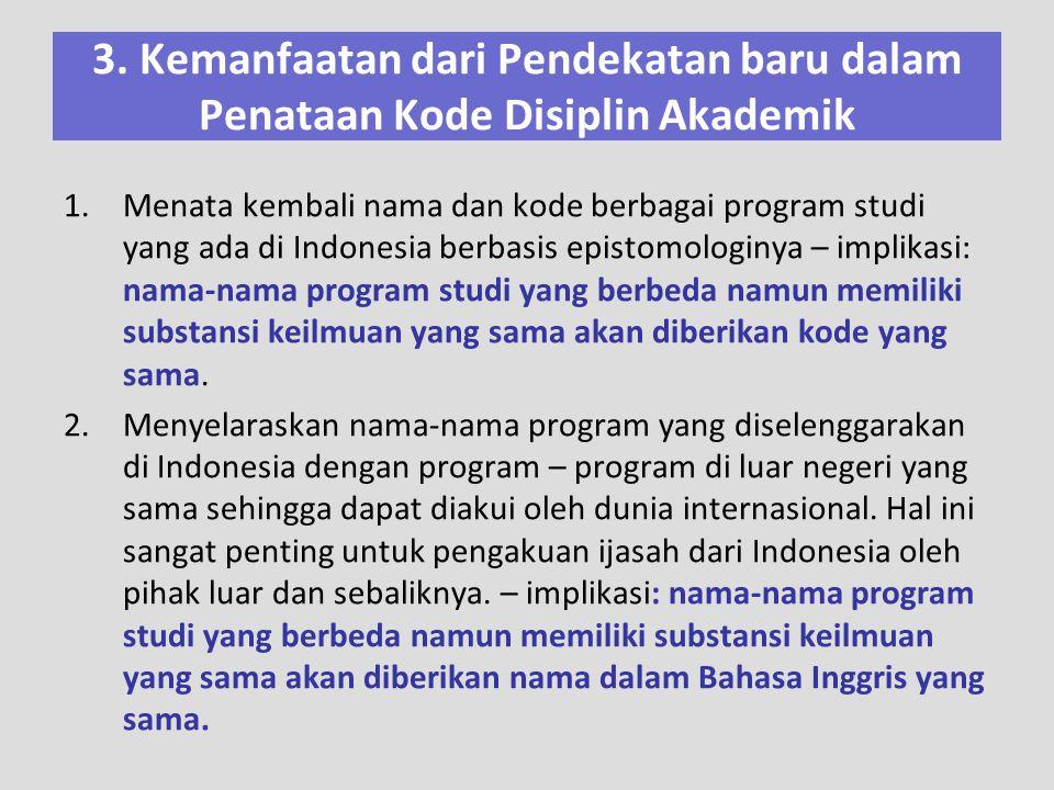 1.Menata kembali nama dan kode berbagai program studi yang ada di Indonesia berbasis epistomologinya – implikasi: nama-nama program studi yang berbeda
