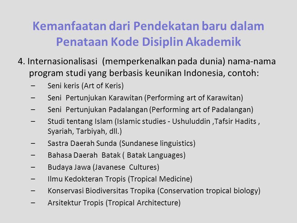 4. Internasionalisasi (memperkenalkan pada dunia) nama-nama program studi yang berbasis keunikan Indonesia, contoh: –Seni keris (Art of Keris) –Seni P