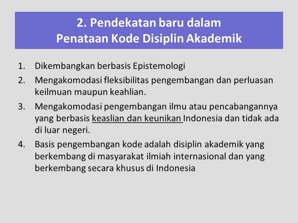 2. Pendekatan baru dalam Penataan Kode Disiplin Akademik 1.Dikembangkan berbasis Epistemologi 2.Mengakomodasi fleksibilitas pengembangan dan perluasan