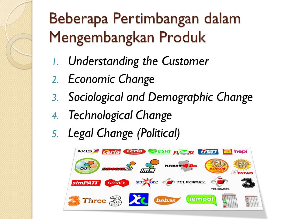 Beberapa Pertimbangan dalam Mengembangkan Produk 1. Understanding the Customer 2. Economic Change 3. Sociological and Demographic Change 4. Technologi