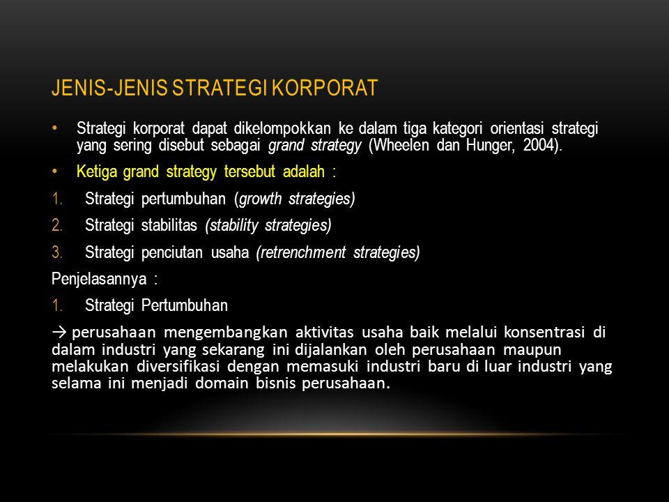 Pada saat perusahaan memilih strategi pertumbuhan melalui konsentrasi di bidang industri di mana perusahaan beroperasi selama ini, maka perusahaan dapat menggunakan : strategi integrasi vertikal (vertical integration ) maupun strategi integrasi horizontal (horizontal integration).