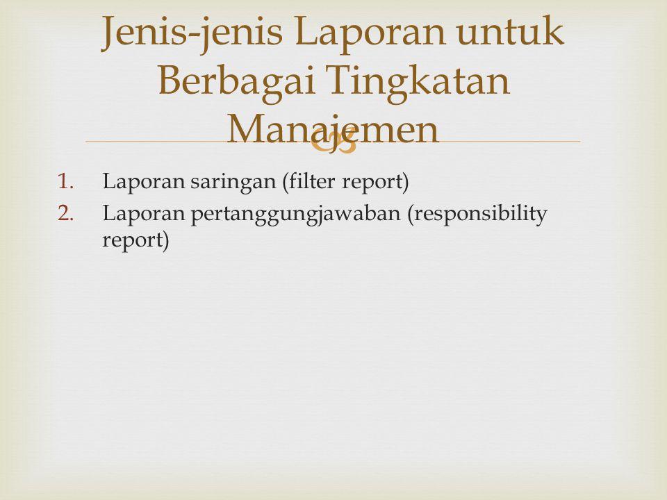  1.Laporan saringan (filter report) 2.Laporan pertanggungjawaban (responsibility report) Jenis-jenis Laporan untuk Berbagai Tingkatan Manajemen