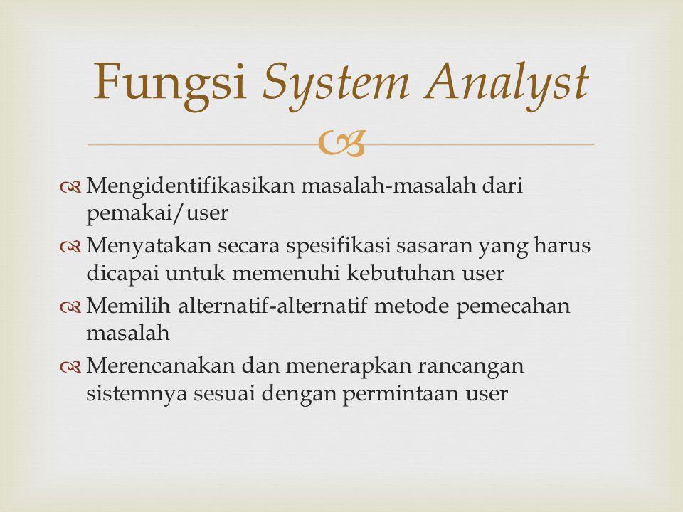   Mengumpulkan dan menganalisis formulir, dokumen, file yang berkaitan dengan sistem yang berjalan  Menyusun dan menyajikan laporan perbaikan (rekomendasi) dari sistem yang berjalan kepada user  Merancang suatu sistem perbaikan dan mengidentifikasikan aplikasi-aplikasi untuk penerapan pada komputer  Menganalisis dan menyusun biaya-biaya dan keuntungan dari sistem yang baru  Mengawasi semua kegiatan dalam penerapan sistem yang baru Tugas-tugas Umum System Analyst