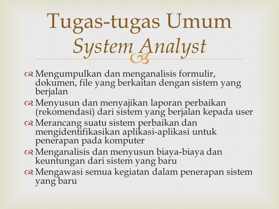   Mengumpulkan dan menganalisis formulir, dokumen, file yang berkaitan dengan sistem yang berjalan  Menyusun dan menyajikan laporan perbaikan (reko