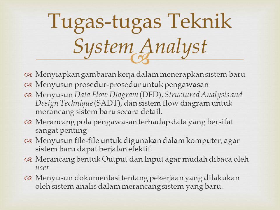   Menyiapkan gambaran kerja dalam menerapkan sistem baru  Menyusun prosedur-prosedur untuk pengawasan  Menyusun Data Flow Diagram (DFD), Structure