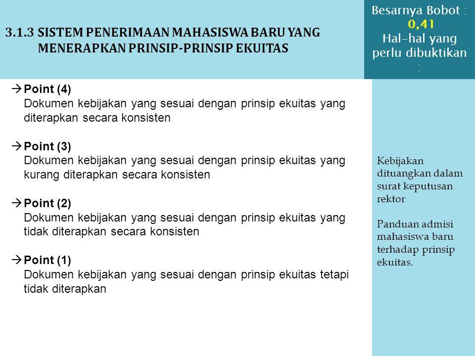 3.1.3 SISTEM PENERIMAAN MAHASISWA BARU YANG MENERAPKAN PRINSIP-PRINSIP EKUITAS Kebijakan dituangkan dalam surat keputusan rektor Panduan admisi mahasi