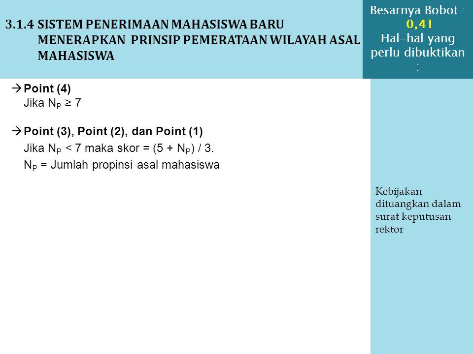3.1.4 SISTEM PENERIMAAN MAHASISWA BARU MENERAPKAN PRINSIP PEMERATAAN WILAYAH ASAL MAHASISWA Kebijakan dituangkan dalam surat keputusan rektor  Point