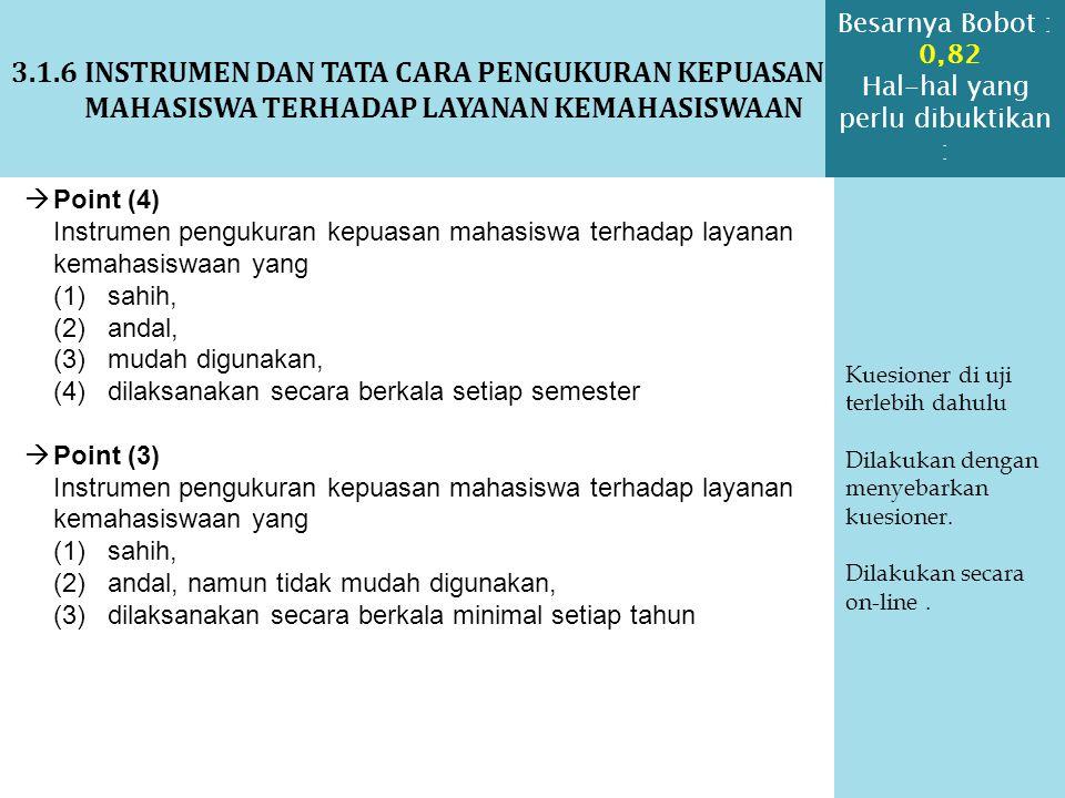 3.1.6 INSTRUMEN DAN TATA CARA PENGUKURAN KEPUASAN MAHASISWA TERHADAP LAYANAN KEMAHASISWAAN Kuesioner di uji terlebih dahulu Dilakukan dengan menyebark