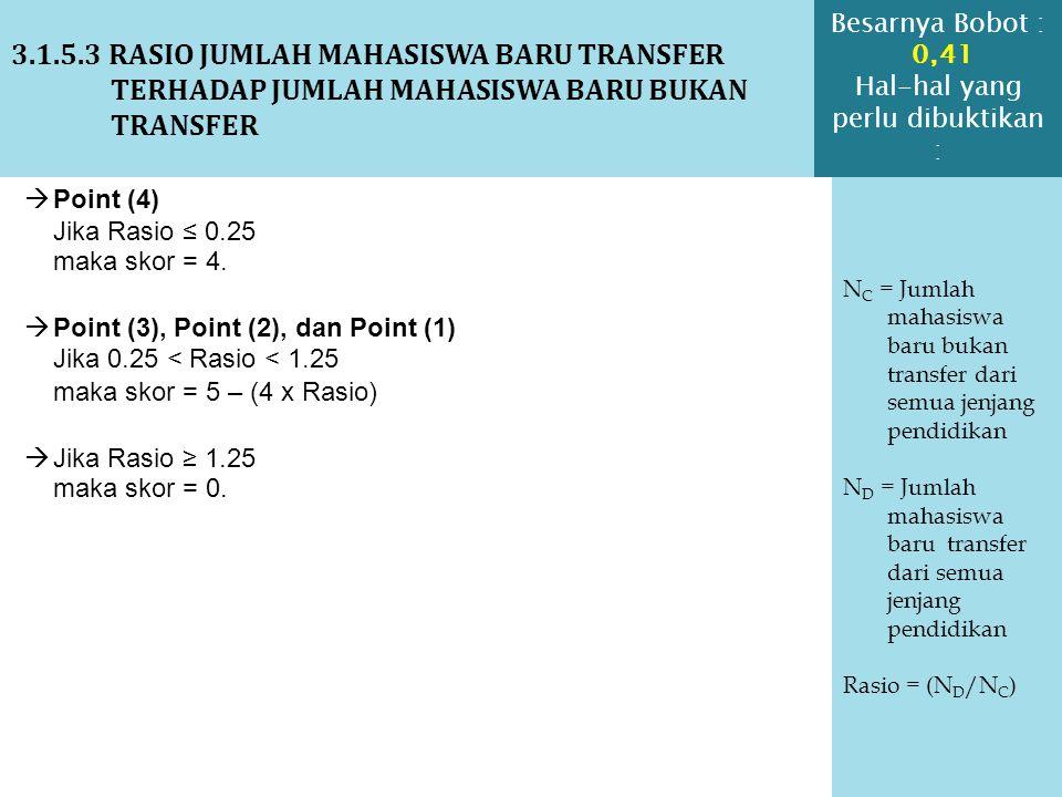 3.1.5.3 RASIO JUMLAH MAHASISWA BARU TRANSFER TERHADAP JUMLAH MAHASISWA BARU BUKAN TRANSFER N C = Jumlah mahasiswa baru bukan transfer dari semua jenja