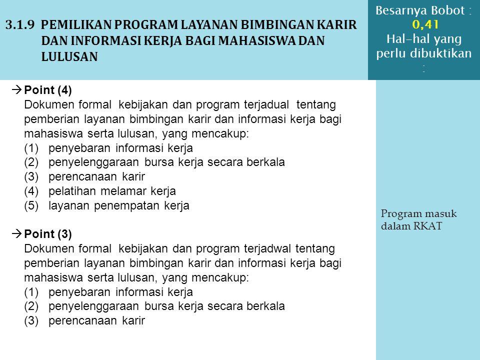 3.1.9 PEMILIKAN PROGRAM LAYANAN BIMBINGAN KARIR DAN INFORMASI KERJA BAGI MAHASISWA DAN LULUSAN Program masuk dalam RKAT  Point (4) Dokumen formal keb