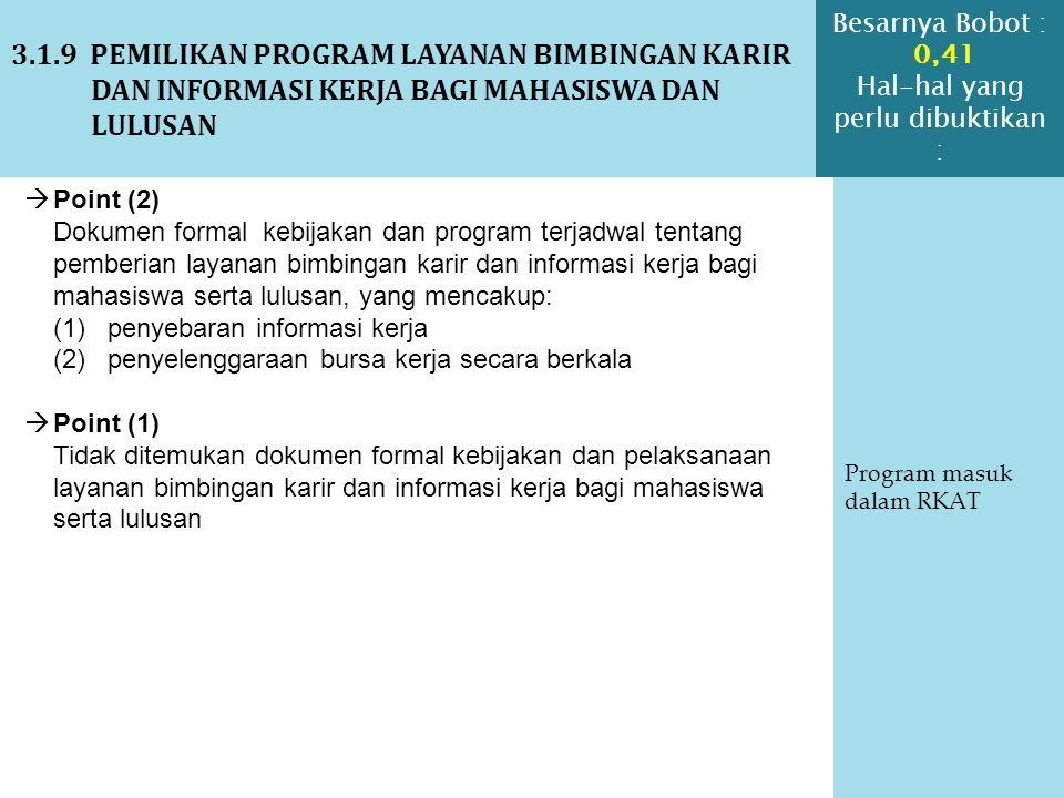3.1.9 PEMILIKAN PROGRAM LAYANAN BIMBINGAN KARIR DAN INFORMASI KERJA BAGI MAHASISWA DAN LULUSAN Program masuk dalam RKAT  Point (2) Dokumen formal keb
