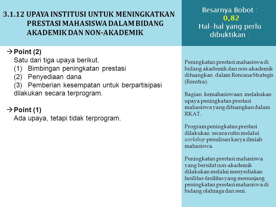3.1.12 UPAYA INSTITUSI UNTUK MENINGKATKAN PRESTASI MAHASISWA DALAM BIDANG AKADEMIK DAN NON-AKADEMIK Peningkatan prestasi mahasiswa di bidang akademik