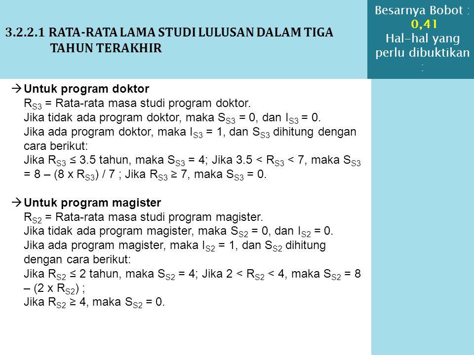 3.2.2.1 RATA-RATA LAMA STUDI LULUSAN DALAM TIGA TAHUN TERAKHIR  Untuk program doktor R S3 = Rata-rata masa studi program doktor. Jika tidak ada progr