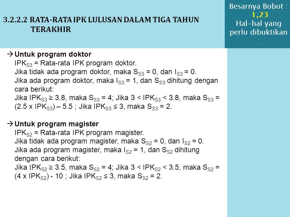 3.2.2.2 RATA-RATA IPK LULUSAN DALAM TIGA TAHUN TERAKHIR  Untuk program doktor IPK S3 = Rata-rata IPK program doktor. Jika tidak ada program doktor, m