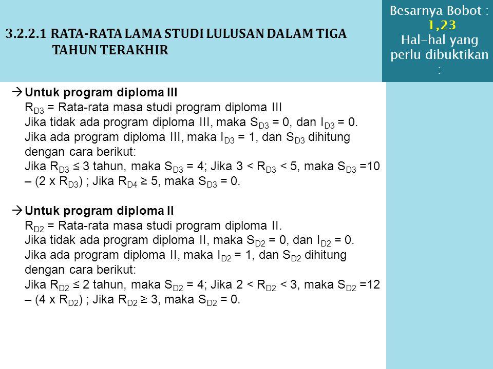 3.2.2.1 RATA-RATA LAMA STUDI LULUSAN DALAM TIGA TAHUN TERAKHIR  Untuk program diploma III R D3 = Rata-rata masa studi program diploma III Jika tidak