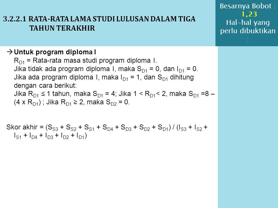 3.2.2.1 RATA-RATA LAMA STUDI LULUSAN DALAM TIGA TAHUN TERAKHIR  Untuk program diploma I R D1 = Rata-rata masa studi program diploma I. Jika tidak ada