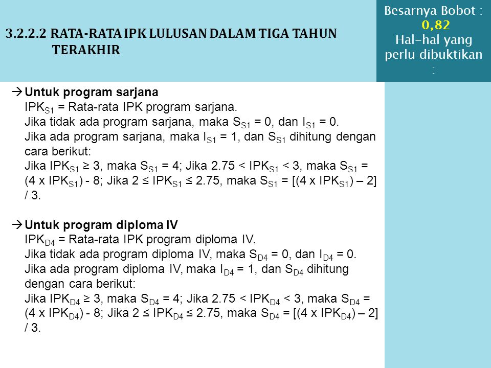 3.2.2.2 RATA-RATA IPK LULUSAN DALAM TIGA TAHUN TERAKHIR  Untuk program sarjana IPK S1 = Rata-rata IPK program sarjana. Jika tidak ada program sarjana