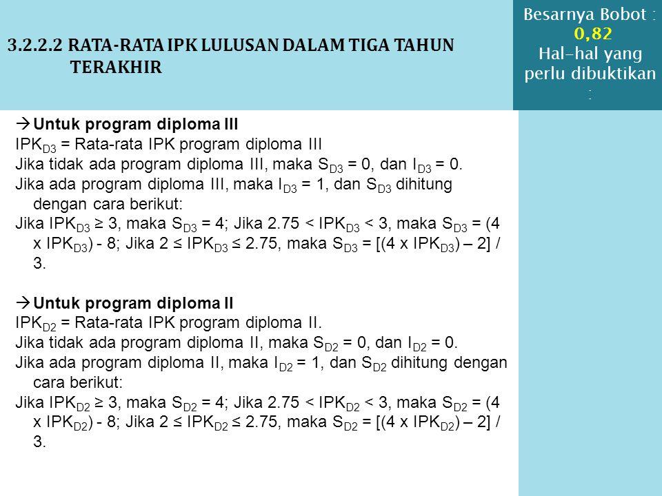 3.2.2.2 RATA-RATA IPK LULUSAN DALAM TIGA TAHUN TERAKHIR  Untuk program diploma III IPK D3 = Rata-rata IPK program diploma III Jika tidak ada program