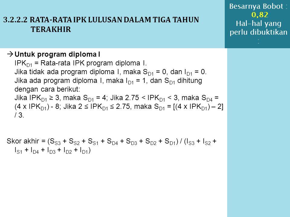 3.2.2.2 RATA-RATA IPK LULUSAN DALAM TIGA TAHUN TERAKHIR  Untuk program diploma I IPK D1 = Rata-rata IPK program diploma I. Jika tidak ada program dip