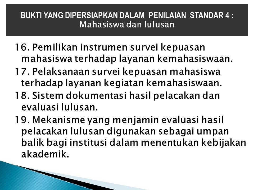 16. Pemilikan instrumen survei kepuasan mahasiswa terhadap layanan kemahasiswaan. 17. Pelaksanaan survei kepuasan mahasiswa terhadap layanan kegiatan