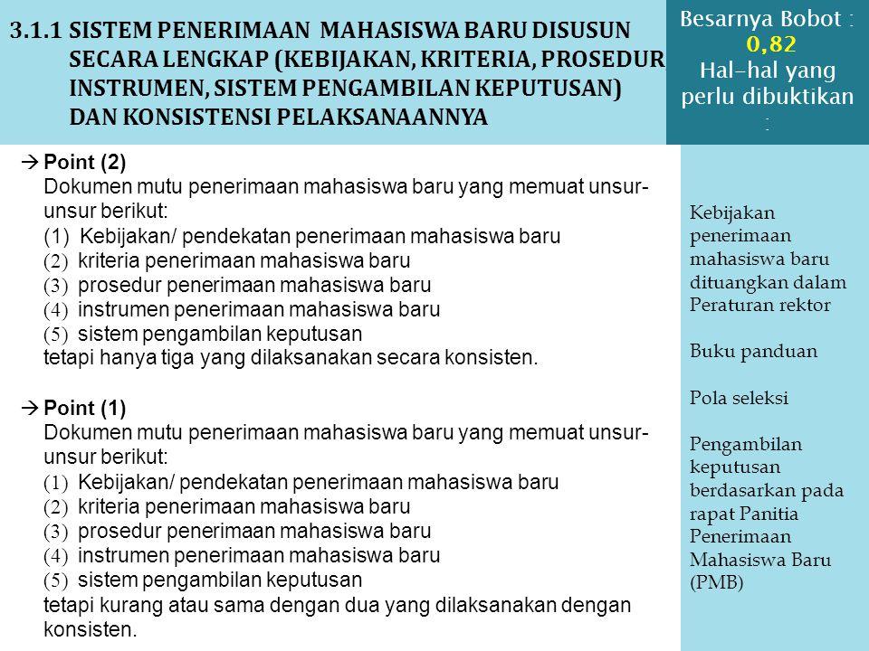 3.1.2 SISTEM PENERIMAAN MAHASISWA BARU YANG MEMBERIKAN PELUANG DAN MENERIMA MAHASISWA YANG MEMILIKI POTENSI AKADEMIK NAMUN KURANG MAMPU SECARA EKONOMI DAN/ATAU CACAT FISIK DISERTAI BUKTI IMPLEMENTASI SISTEM TSB BERUPA KETERSEDIAAN SARANA DAN PRASARANA PENUNJANG Kebijakan penerimaan mahasiswa baru tidak mampu ekonomi dan cacat fisik Beasiswa bagi ekonomi lemah (internal atau eksternal) Menyediakan fasilitas untuk para difabel  Point (4) Dokumen sistem untuk memberikan peluang dan menerima mahasiswa yang memiliki potensi akademik tetapi tidak mampu secara ekonomi dan cacat fisik dan bukti implementasi sistem tsb.