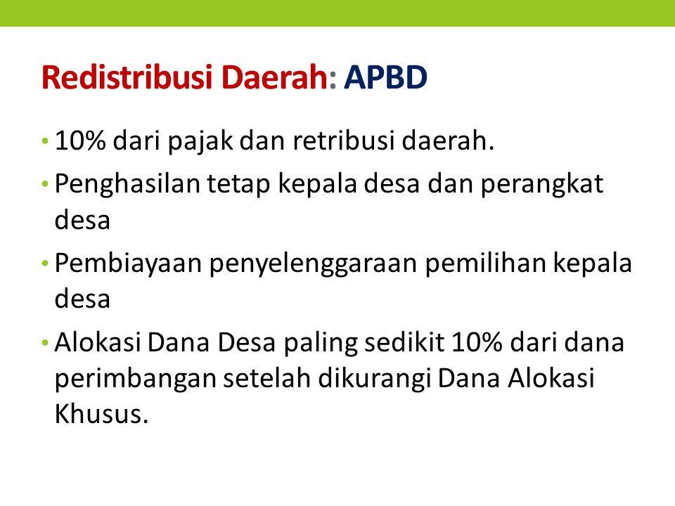 Redistribusi Daerah: APBD 10% dari pajak dan retribusi daerah.