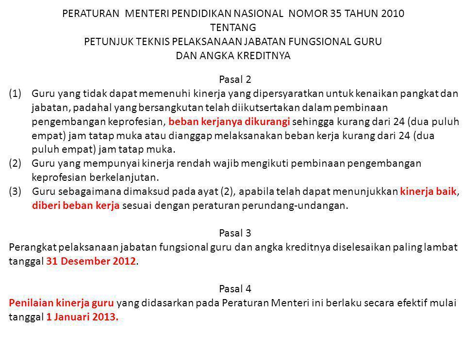 PERATURAN MENTERI PENDIDIKAN NASIONAL NOMOR 35 TAHUN 2010 TENTANG PETUNJUK TEKNIS PELAKSANAAN JABATAN FUNGSIONAL GURU DAN ANGKA KREDITNYA Pasal 2 (1)