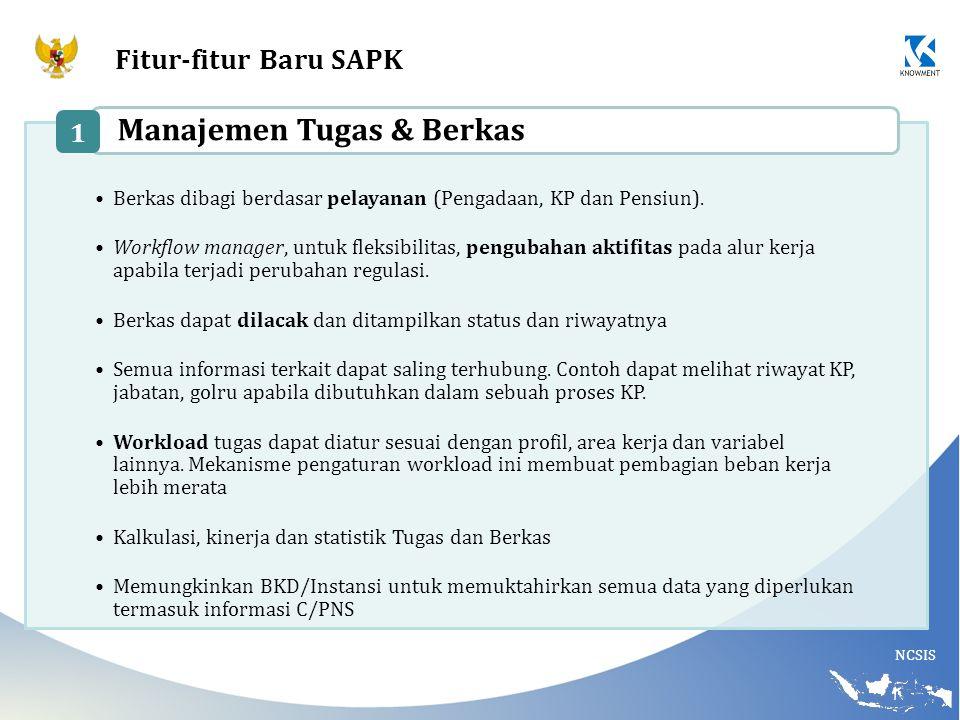 NCSIS Fitur-fitur Baru SAPK Berkas dibagi berdasar pelayanan (Pengadaan, KP dan Pensiun). Workflow manager, untuk fleksibilitas, pengubahan aktifitas