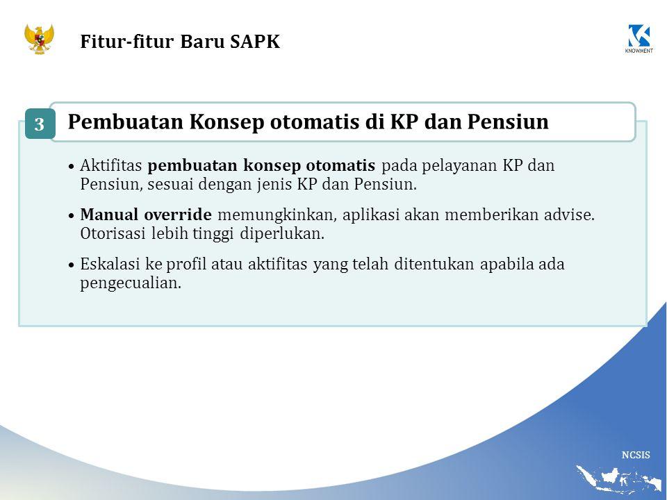 NCSIS Fitur-fitur Baru SAPK Aktifitas pembuatan konsep otomatis pada pelayanan KP dan Pensiun, sesuai dengan jenis KP dan Pensiun. Manual override mem