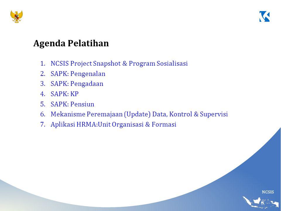 NCSIS 1.NCSIS Project Snapshot & Program Sosialisasi 2.SAPK: Pengenalan 3.SAPK: Pengadaan 4.SAPK: KP 5.SAPK: Pensiun 6.Mekanisme Peremajaan (Update) D