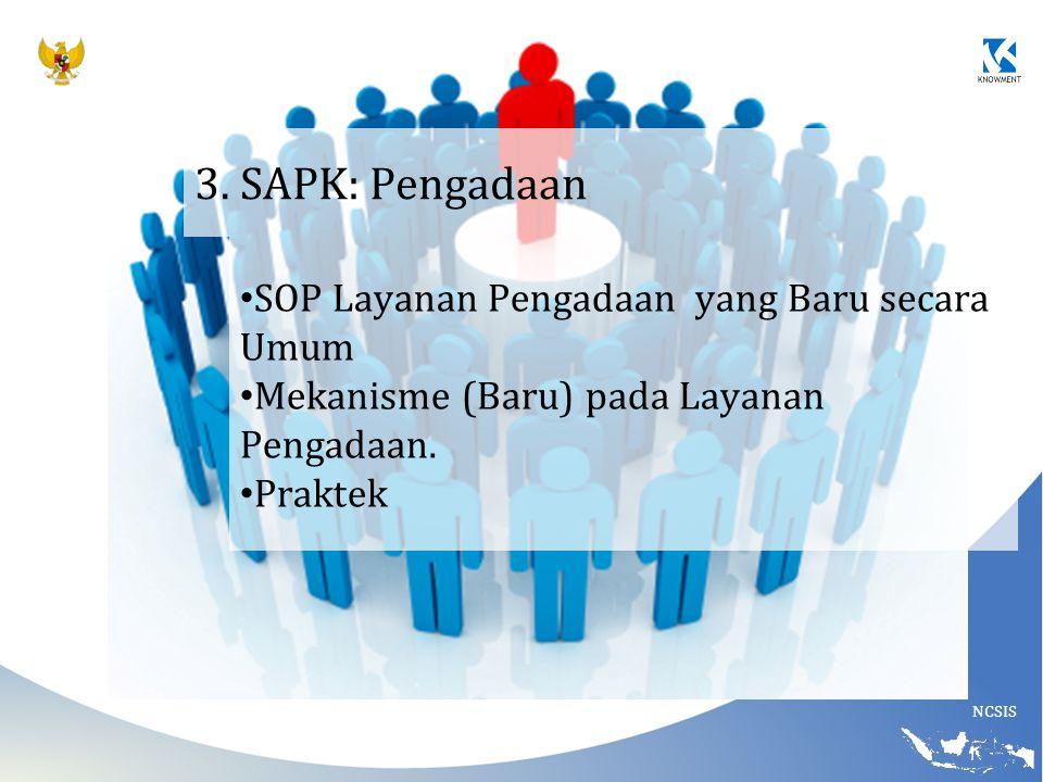 NCSIS 3. SAPK: Pengadaan SOP Layanan Pengadaan yang Baru secara Umum Mekanisme (Baru) pada Layanan Pengadaan. Praktek